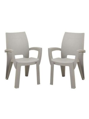 Set of plastic chair in grey
