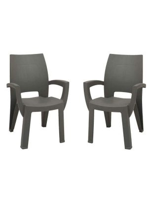 set of plastic chair in black color