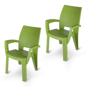 set of plastic chair in green color