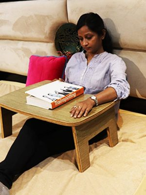 Foldable wooden bed table