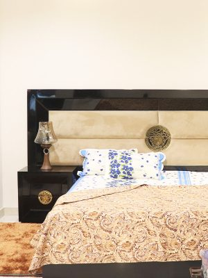 King size double bed with leather back