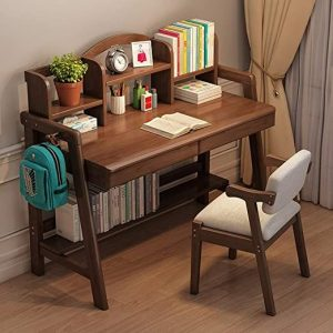 Wooden study table of walnut brown color